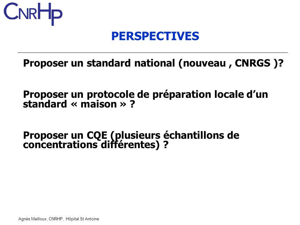 Agnès Mailloux, CNRHP, Hôpital St Antoine PERSPECTIVES Proposer un standard national (nouveau, CNRGS )? Proposer un protocole de préparation locale du