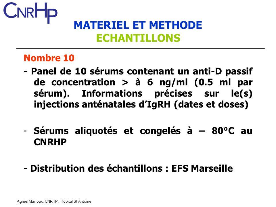 Agnès Mailloux, CNRHP, Hôpital St Antoine MATERIEL ET METHODE ECHANTILLONS Nombre 10 - Panel de 10 sérums contenant un anti-D passif de concentration