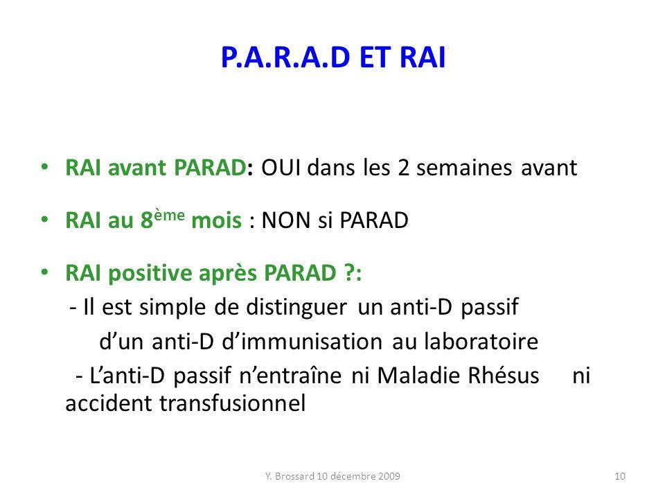 Y. Brossard 10 décembre 200910 P.A.R.A.D ET RAI RAI avant PARAD: OUI dans les 2 semaines avant RAI au 8 ème mois : NON si PARAD RAI positive après PAR