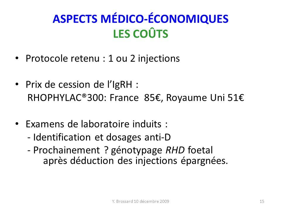 Y. Brossard 10 décembre 200915 ASPECTS MÉDICO-ÉCONOMIQUES LES COÛTS Protocole retenu : 1 ou 2 injections Prix de cession de lIgRH : RHOPHYLAC®300: Fra