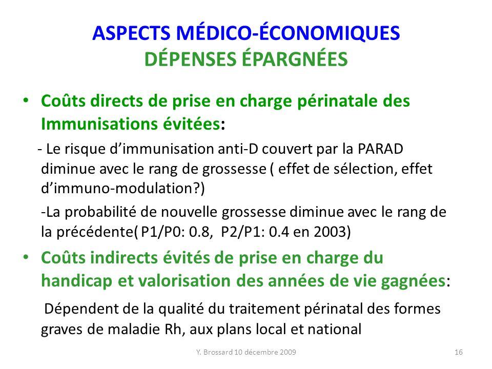 Y. Brossard 10 décembre 200916 ASPECTS MÉDICO-ÉCONOMIQUES DÉPENSES ÉPARGNÉES Coûts directs de prise en charge périnatale des Immunisations évitées: -