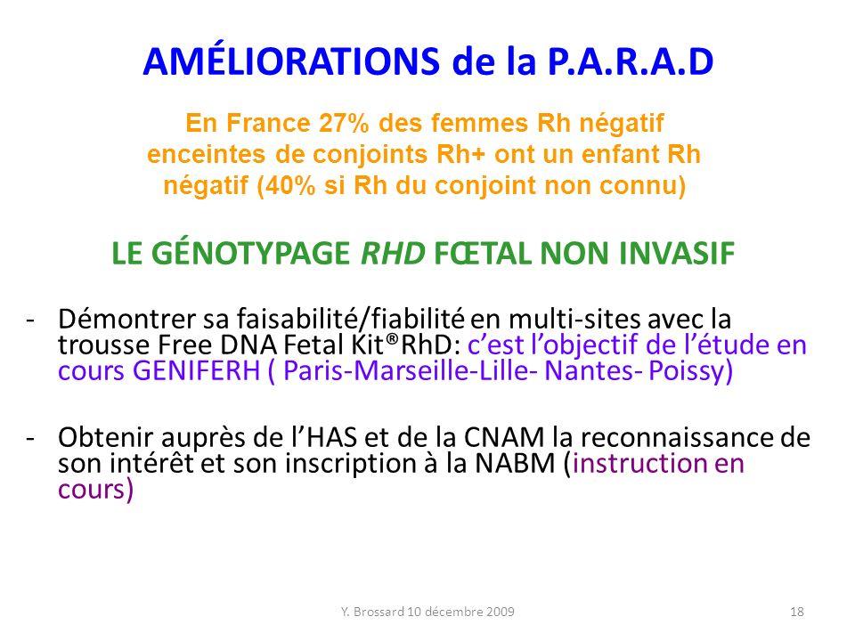 Y. Brossard 10 décembre 200918 LE GÉNOTYPAGE RHD FŒTAL NON INVASIF -Démontrer sa faisabilité/fiabilité en multi-sites avec la trousse Free DNA Fetal K