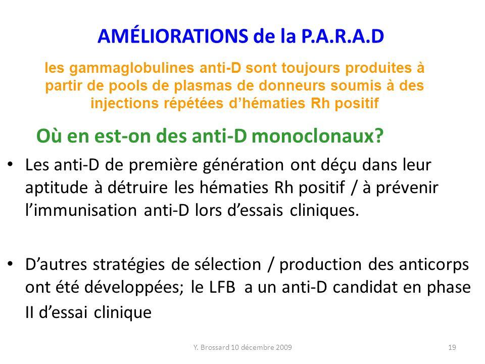 Y.Brossard 10 décembre 200919 AMÉLIORATIONS de la P.A.R.A.D Où en est-on des anti-D monoclonaux.
