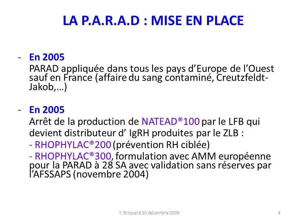 Y. Brossard 10 décembre 20094 LA P.A.R.A.D : MISE EN PLACE -En 2005 PARAD appliquée dans tous les pays dEurope de lOuest sauf en France (affaire du sa