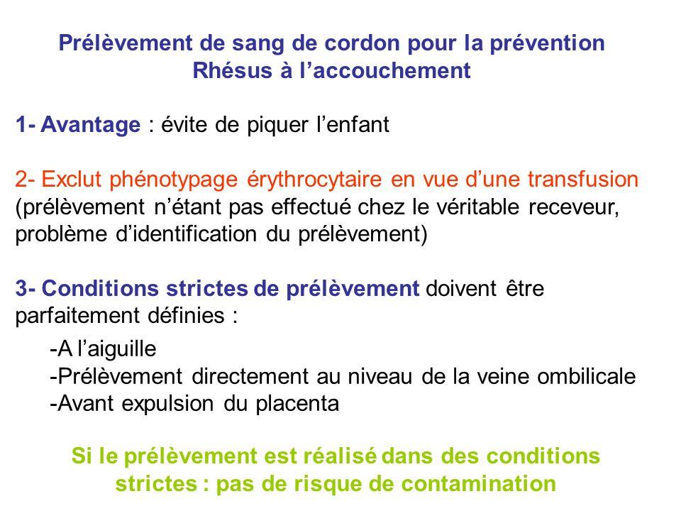 Prélèvement de sang de cordon pour la prévention Rhésus à laccouchement 1- Avantage : évite de piquer lenfant 2- Exclut phénotypage érythrocytaire en