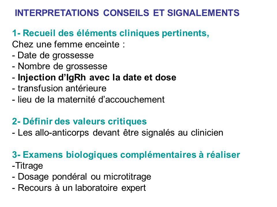 1- Recueil des éléments cliniques pertinents, Chez une femme enceinte : - Date de grossesse - Nombre de grossesse - Injection dIgRh avec la date et do