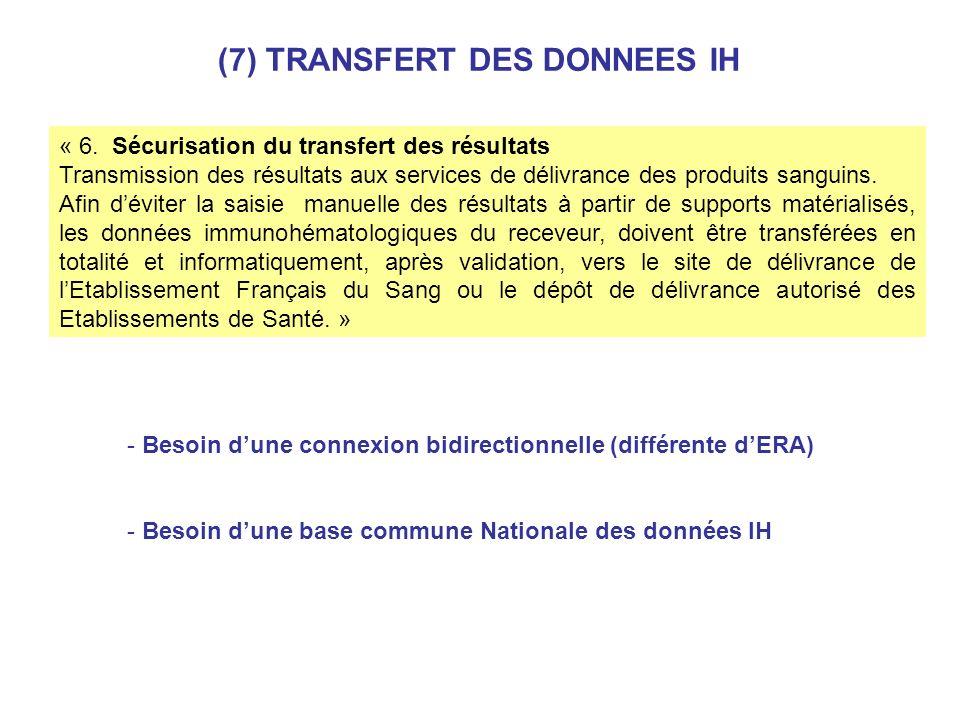 « 6. Sécurisation du transfert des résultats Transmission des résultats aux services de délivrance des produits sanguins. Afin déviter la saisie manue
