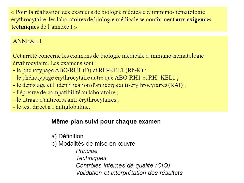 ANNEXE I Cet arrêté concerne les examens de biologie médicale dimmuno-hématologie érythrocytaire. Les examens sont : - le phénotypage ABO-RH1 (D) et R