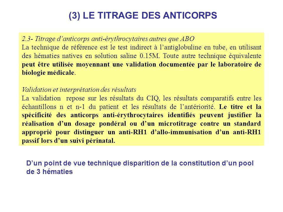 2.3- Titrage danticorps anti-érythrocytaires autres que ABO La technique de référence est le test indirect à lantiglobuline en tube, en utilisant des