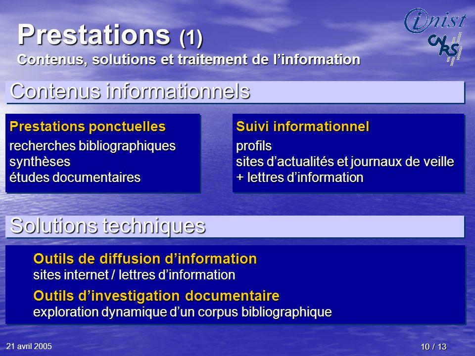 21 avril 2005 10 / 13 Prestations (1) Contenus, solutions et traitement de linformation Contenus informationnels Prestations ponctuelles recherches bi
