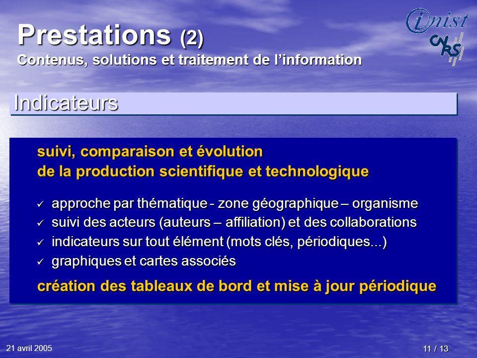 21 avril 2005 11 / 13 Prestations (2) Contenus, solutions et traitement de linformation IndicateursIndicateurs suivi, comparaison et évolution de la p