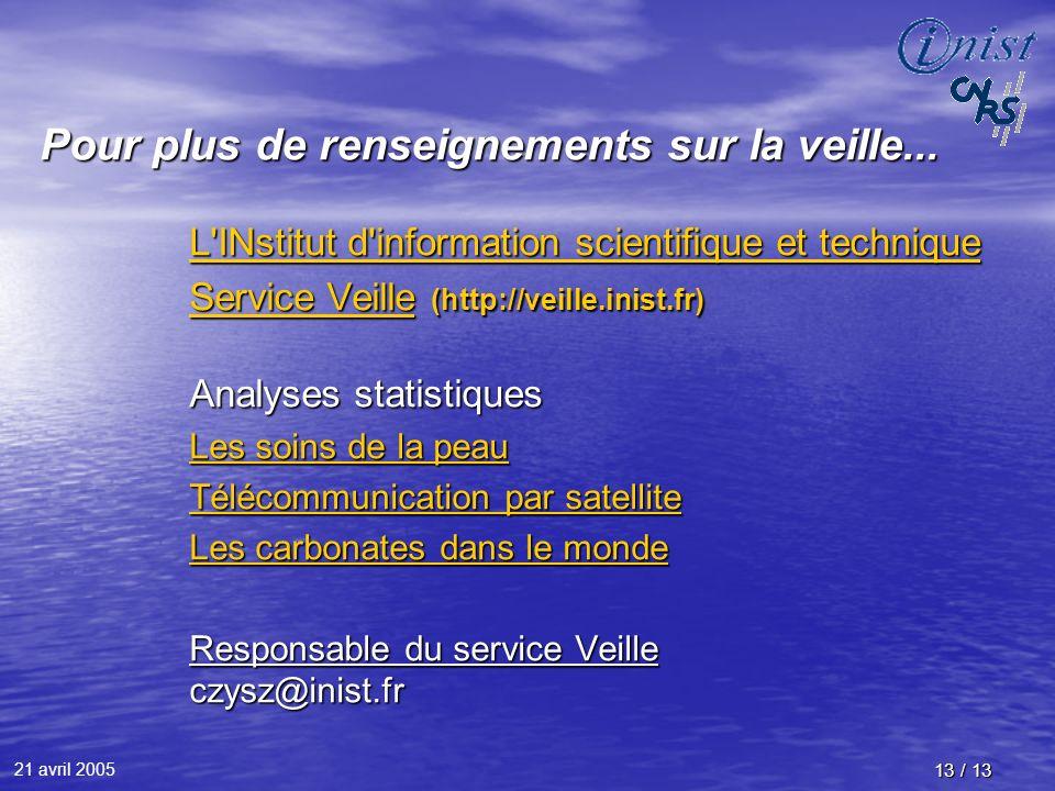 21 avril 2005 13 / 13 Pour plus de renseignements sur la veille... L'INstitut d'information scientifique et technique L'INstitut d'information scienti