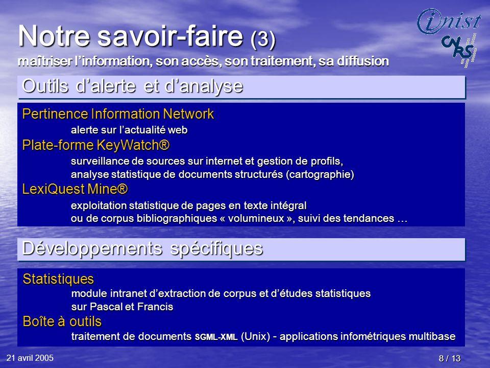 21 avril 2005 8 / 13 Notre savoir-faire (3) maîtriser linformation, son accès, son traitement, sa diffusion Développements spécifiques Statistiques mo