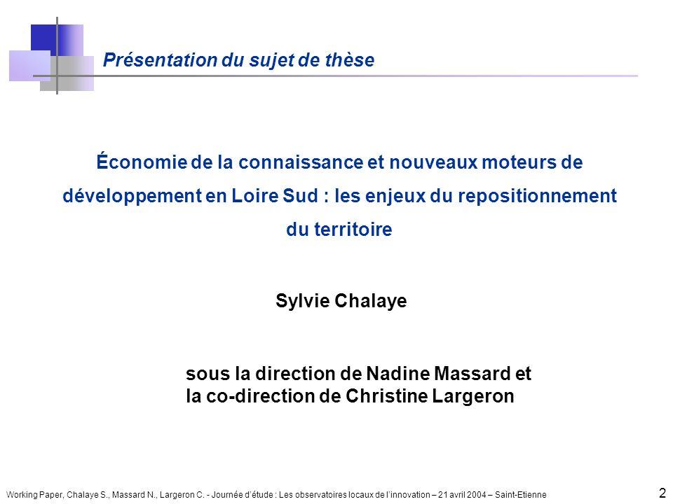 Working Paper, Chalaye S., Massard N., Largeron C. - Journée détude : Les observatoires locaux de linnovation – 21 avril 2004 – Saint-Etienne 2 Présen