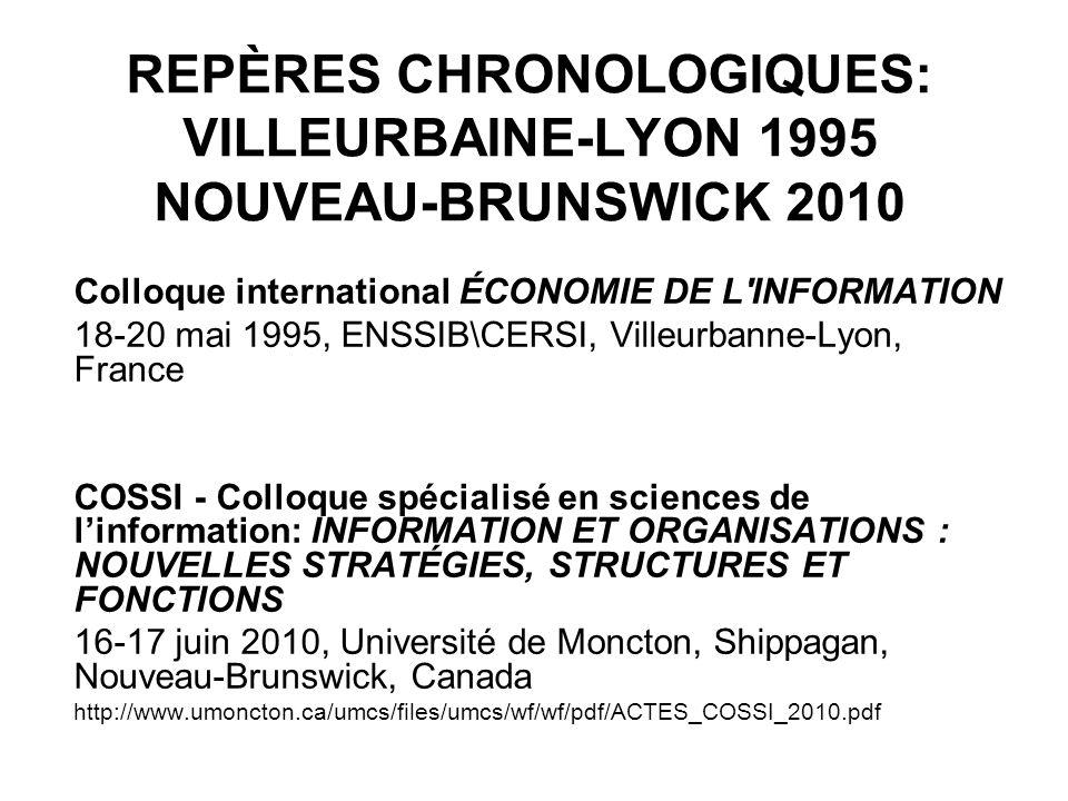 REPÈRES CHRONOLOGIQUES: VILLEURBAINE-LYON 1995 NOUVEAU-BRUNSWICK 2010 Colloque international ÉCONOMIE DE L INFORMATION 18-20 mai 1995, ENSSIB\CERSI, Villeurbanne-Lyon, France COSSI - Colloque spécialisé en sciences de linformation: INFORMATION ET ORGANISATIONS : NOUVELLES STRATÉGIES, STRUCTURES ET FONCTIONS 16-17 juin 2010, Université de Moncton, Shippagan, Nouveau-Brunswick, Canada http://www.umoncton.ca/umcs/files/umcs/wf/wf/pdf/ACTES_COSSI_2010.pdf