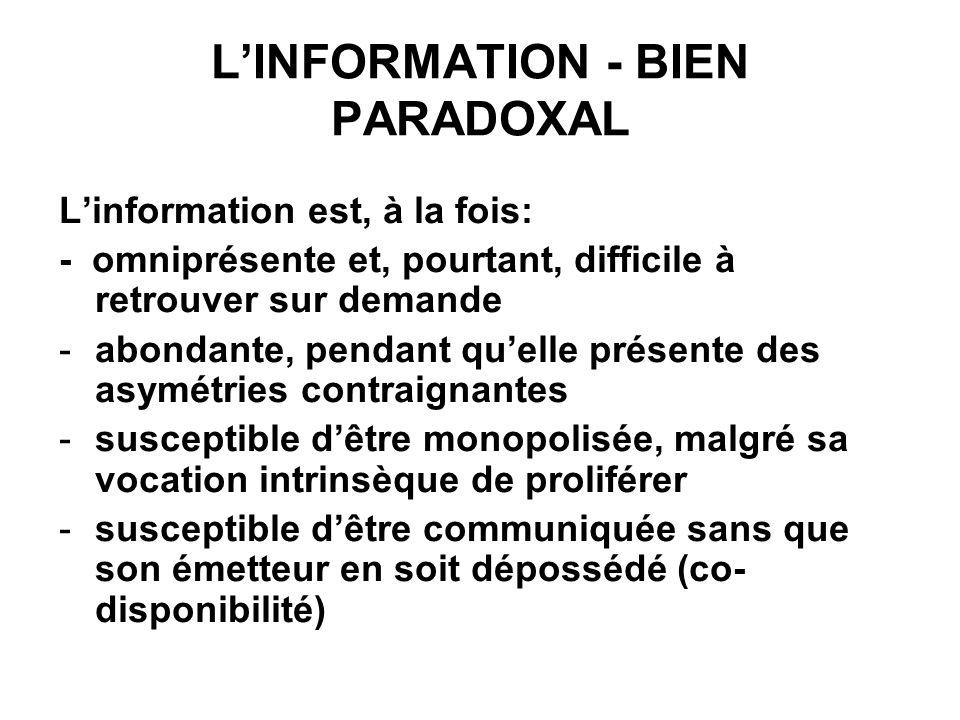 LINFORMATION - BIEN PARADOXAL Linformation est, à la fois: - omniprésente et, pourtant, difficile à retrouver sur demande -abondante, pendant quelle p