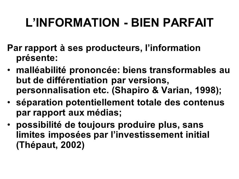 LINFORMATION - BIEN PARFAIT Par rapport à ses producteurs, linformation présente: malléabilité prononcée: biens transformables au but de différentiation par versions, personnalisation etc.