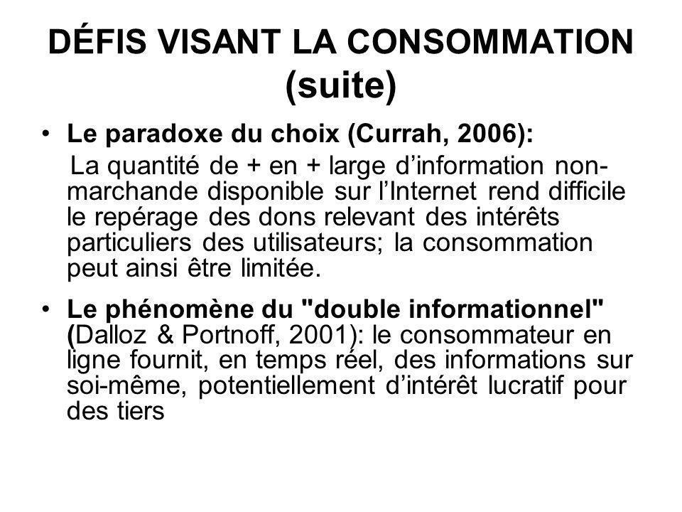 DÉFIS VISANT LA CONSOMMATION (suite) Le paradoxe du choix (Currah, 2006): La quantité de + en + large dinformation non- marchande disponible sur lInte