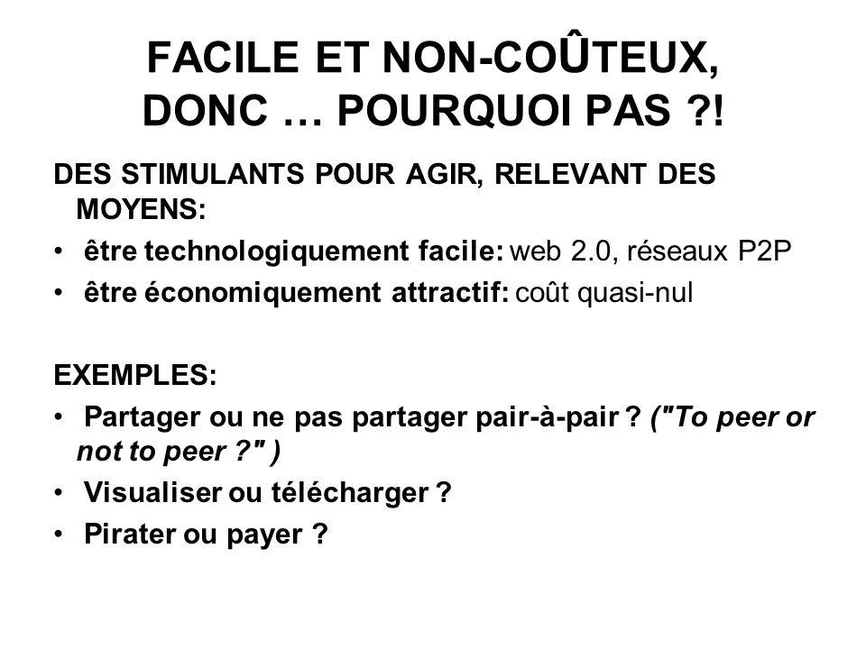 FACILE ET NON-CO Û TEUX, DONC … POURQUOI PAS .