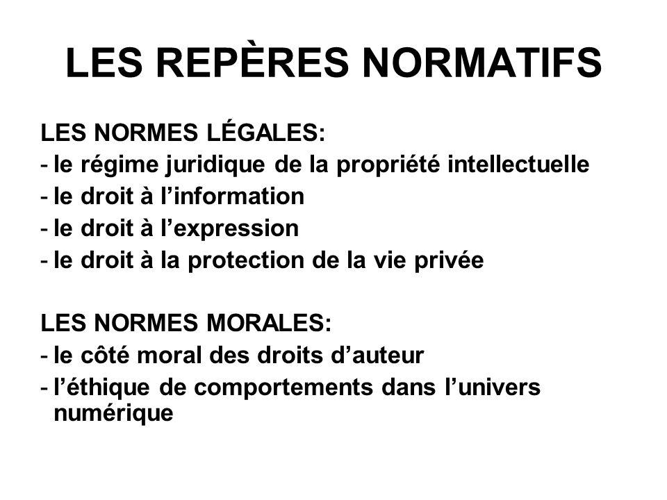 LES REPÈRES NORMATIFS LES NORMES LÉGALES: -le régime juridique de la propriété intellectuelle -le droit à linformation -le droit à lexpression -le droit à la protection de la vie privée LES NORMES MORALES: -le côté moral des droits dauteur -léthique de comportements dans lunivers numérique
