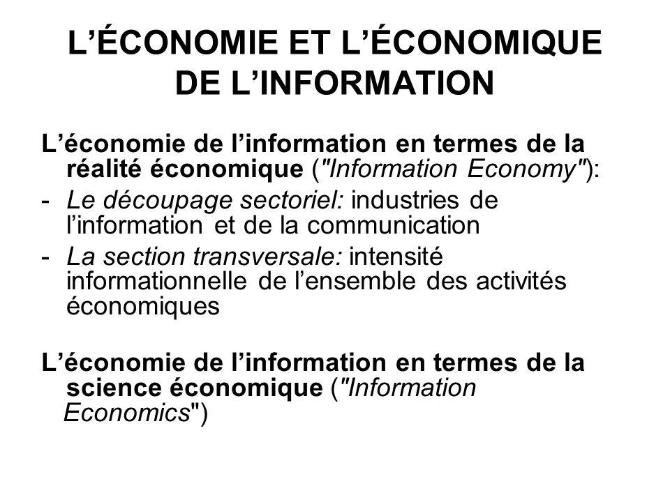 LÉCONOMIE ET LÉCONOMIQUE DE LINFORMATION Léconomie de linformation en termes de la réalité économique (