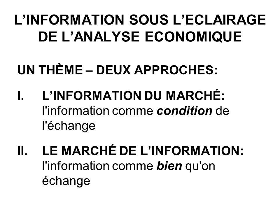 LINFORMATION SOUS LECLAIRAGE DE LANALYSE ECONOMIQUE UN THÈME – DEUX APPROCHES: I.LINFORMATION DU MARCHÉ: l information comme condition de l échange II.LE MARCHÉ DE LINFORMATION: l information comme bien qu on échange