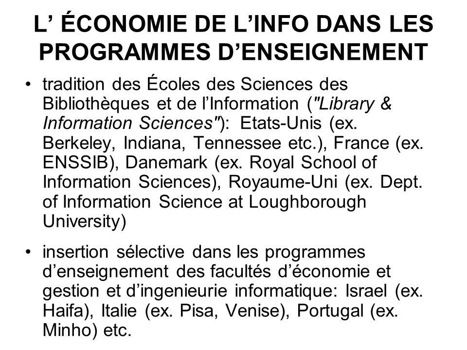 L ÉCONOMIE DE LINFO DANS LES PROGRAMMES DENSEIGNEMENT tradition des Écoles des Sciences des Bibliothèques et de lInformation (