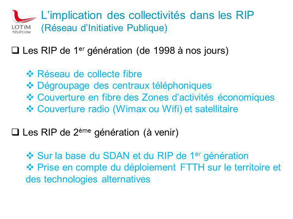 RIP de 1 ère génération A ce jour : 87 réseaux opérationnels (2,7 Milliards ) Environ 25 % des communes françaises concernées pour 16 millions de personnes.