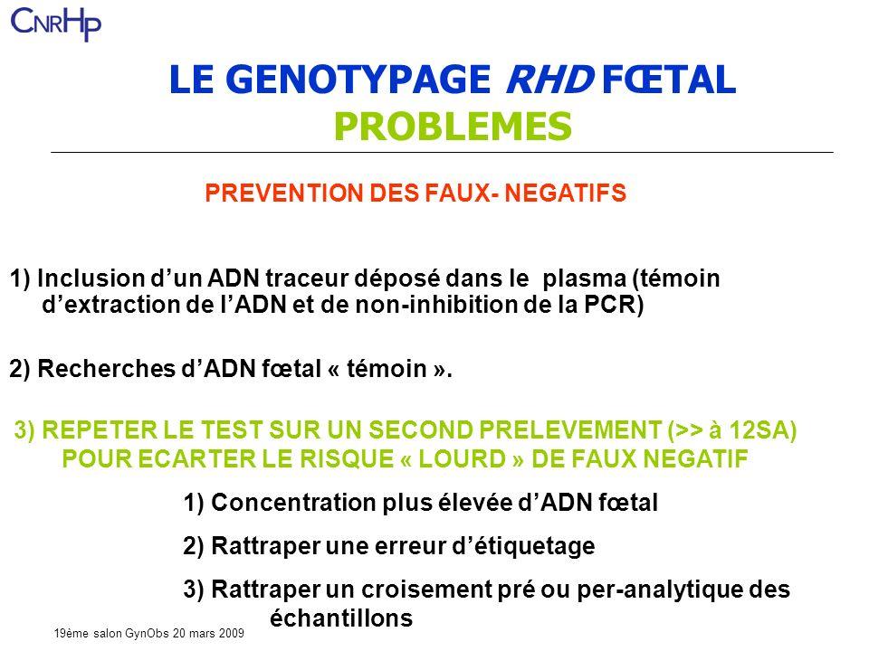 19ème salon GynObs 20 mars 2009 1) Inclusion dun ADN traceur déposé dans le plasma (témoin dextraction de lADN et de non-inhibition de la PCR) 2) Recherches dADN fœtal « témoin ».