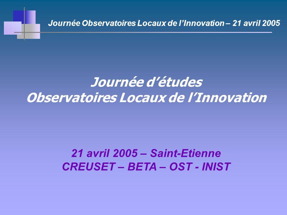 Journée détudes Observatoires Locaux de lInnovation 21 avril 2005 – Saint-Etienne CREUSET – BETA – OST - INIST Journée Observatoires Locaux de lInnovation – 21 avril 2005