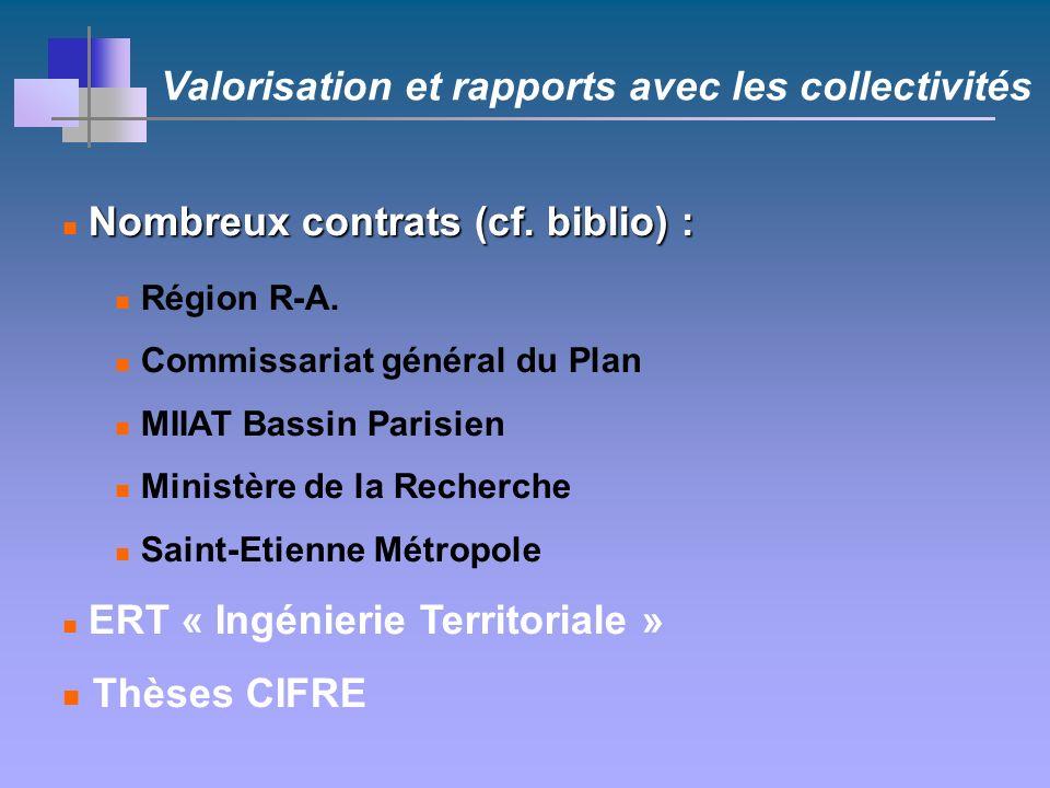 Valorisation et rapports avec les collectivités Nombreux contrats (cf.