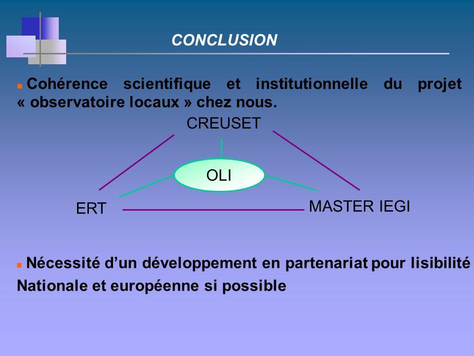 Cohérence scientifique et institutionnelle du projet « observatoire locaux » chez nous.