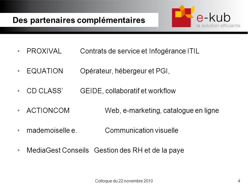 Colloque du 22 novembre 20105 Les contrats de services sont basés sur un prix forfaitaire mensuel aux nombre dutilisateurs des applications et des postes de travail.