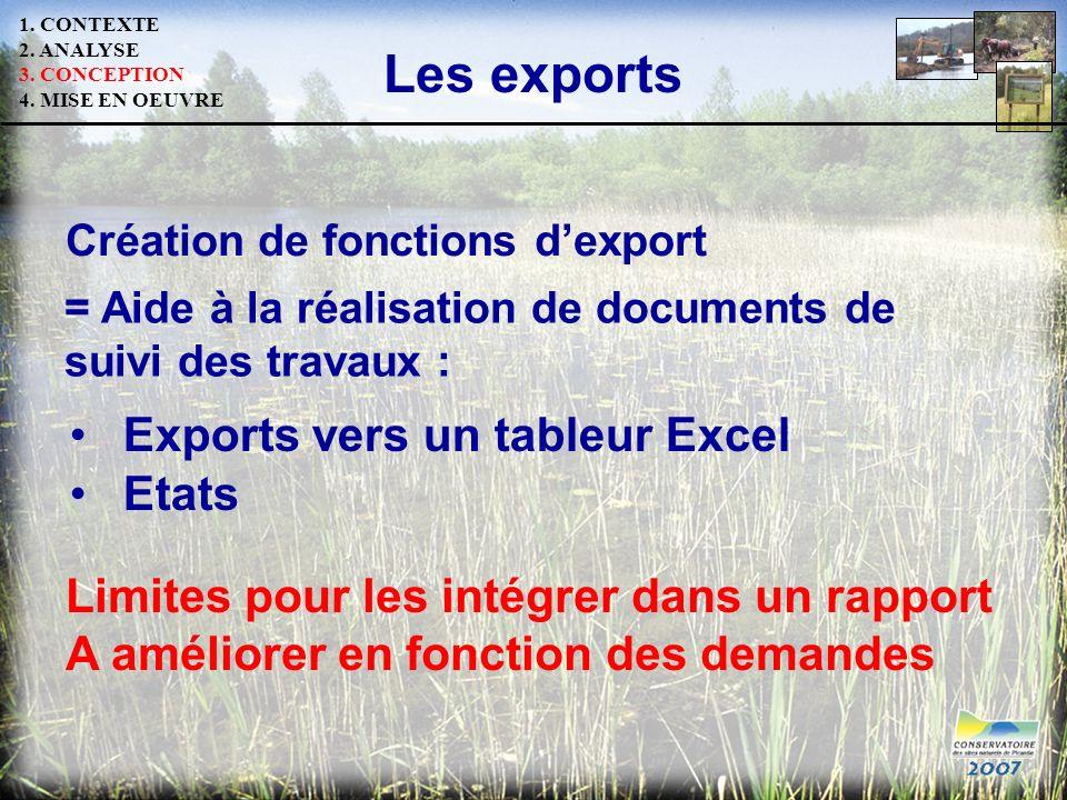 Les exports = Aide à la réalisation de documents de suivi des travaux : Création de fonctions dexport Etats Exports vers un tableur Excel Limites pour