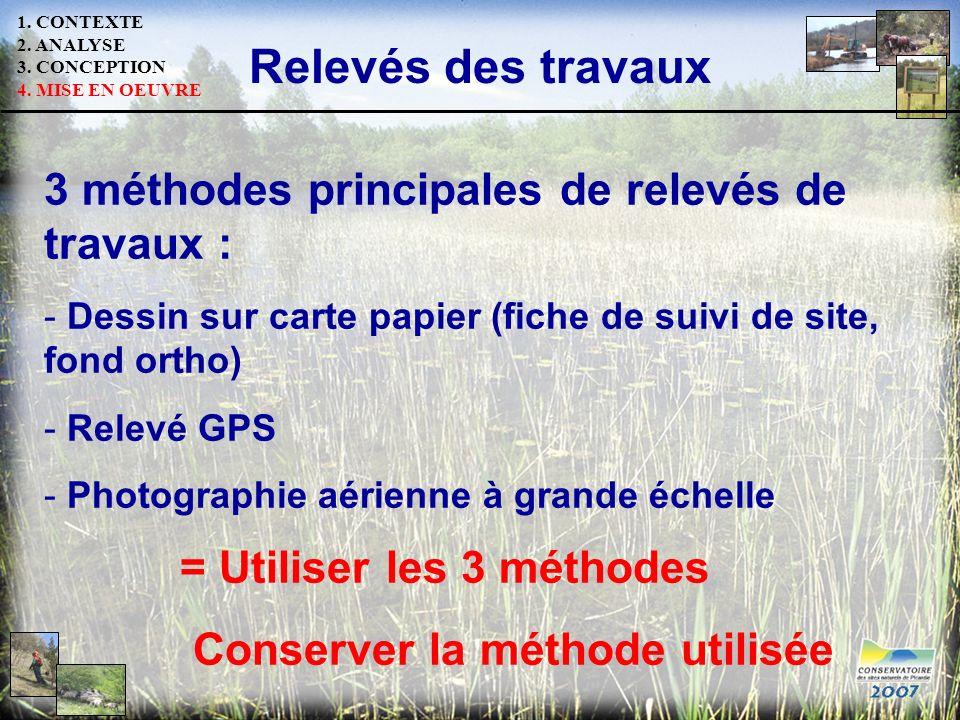 Relevés des travaux 3 méthodes principales de relevés de travaux : - Dessin sur carte papier (fiche de suivi de site, fond ortho) - Relevé GPS - Photo