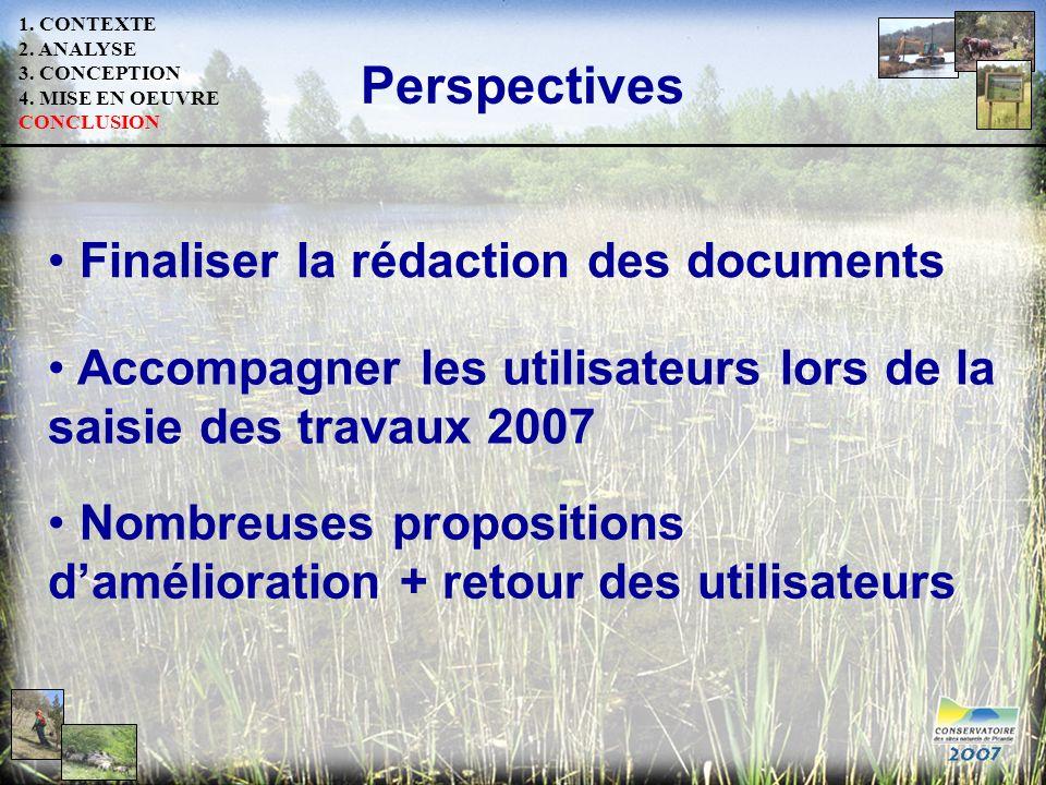 1. CONTEXTE 2. ANALYSE 3. CONCEPTION 4. MISE EN OEUVRE CONCLUSION Perspectives Accompagner les utilisateurs lors de la saisie des travaux 2007 Nombreu