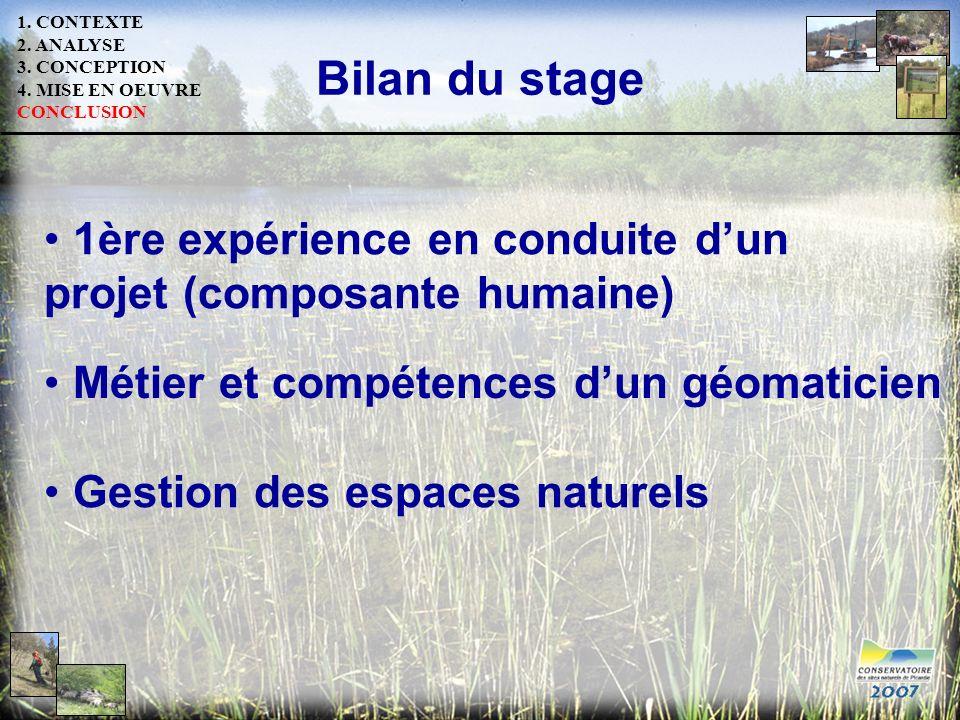 1. CONTEXTE 2. ANALYSE 3. CONCEPTION 4. MISE EN OEUVRE CONCLUSION Bilan du stage Métier et compétences dun géomaticien Gestion des espaces naturels 1è