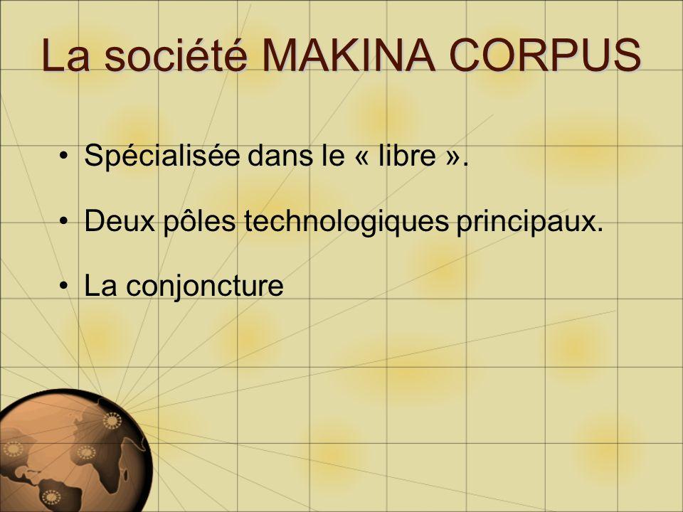 La société MAKINA CORPUS Spécialisée dans le « libre ». Deux pôles technologiques principaux. La conjoncture