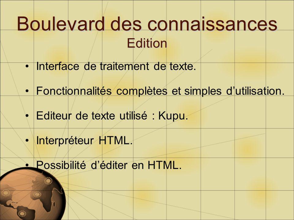 Interface de traitement de texte. Fonctionnalités complètes et simples dutilisation. Editeur de texte utilisé : Kupu. Interpréteur HTML. Possibilité d
