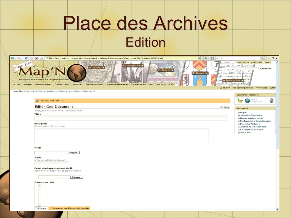 Place des Archives Edition