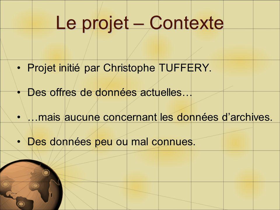 Le projet – Contexte Projet initié par Christophe TUFFERY. Des offres de données actuelles… …mais aucune concernant les données darchives. Des données