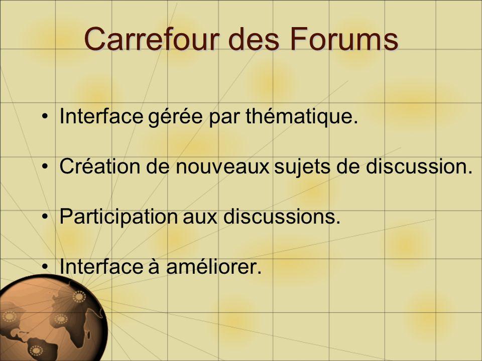Interface gérée par thématique. Création de nouveaux sujets de discussion. Participation aux discussions. Interface à améliorer.