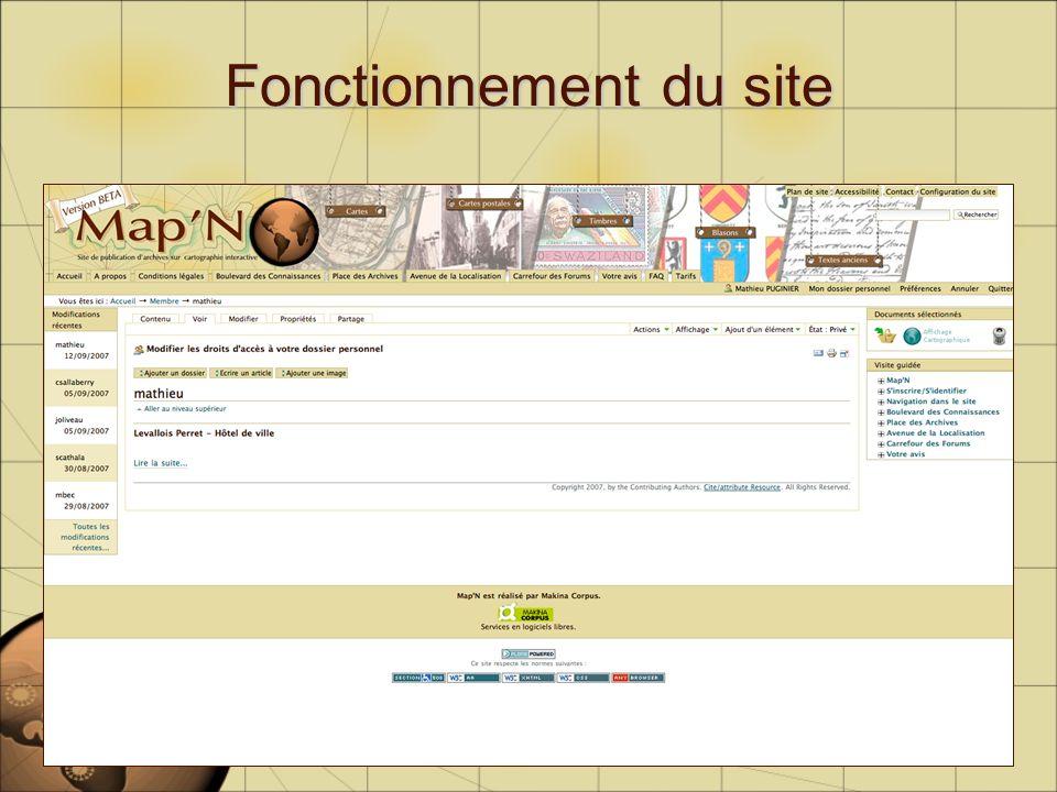 Fonctionnement du site