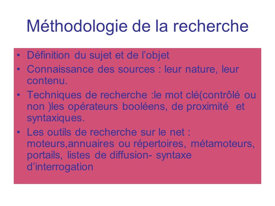 Méthodologie de la recherche Définition du sujet et de lobjet Connaissance des sources : leur nature, leur contenu. Techniques de recherche :le mot cl