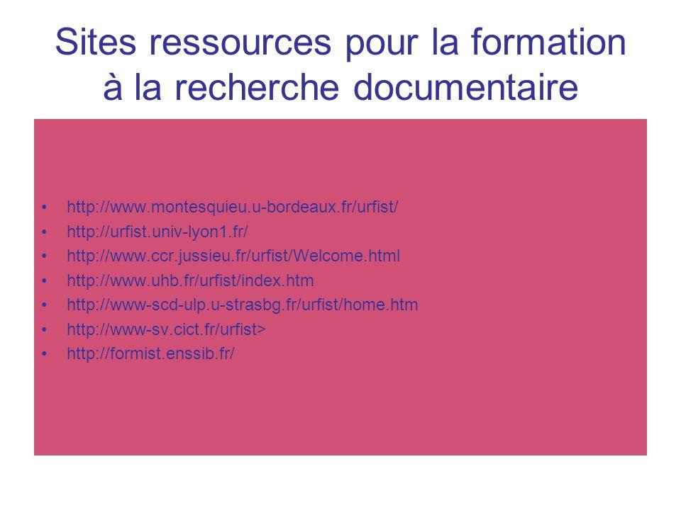 Sites ressources pour la formation à la recherche documentaire http://www.montesquieu.u-bordeaux.fr/urfist/ http://urfist.univ-lyon1.fr/ http://www.cc