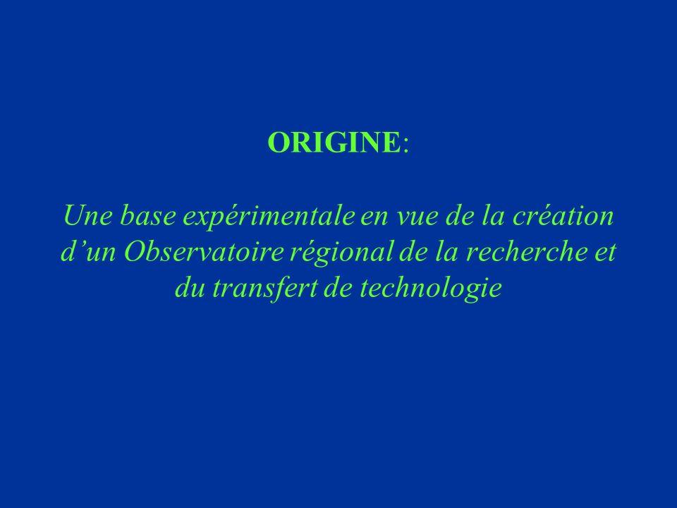 ORIGINE: Une base expérimentale en vue de la création dun Observatoire régional de la recherche et du transfert de technologie
