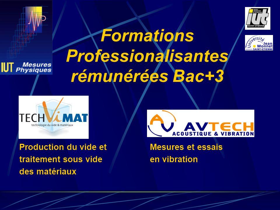 Mesures et essais en vibration Formations Professionalisantes rémunérées Bac+3 Production du vide et traitement sous vide des matériaux