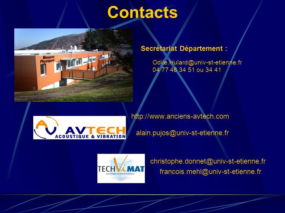 Contacts http://www.anciens-avtech.com Secrétariat Département : Odile.Hulard@univ-st-etienne.fr 04 77 46 34 51 ou 34 41 alain.pujos@univ-st-etienne.f