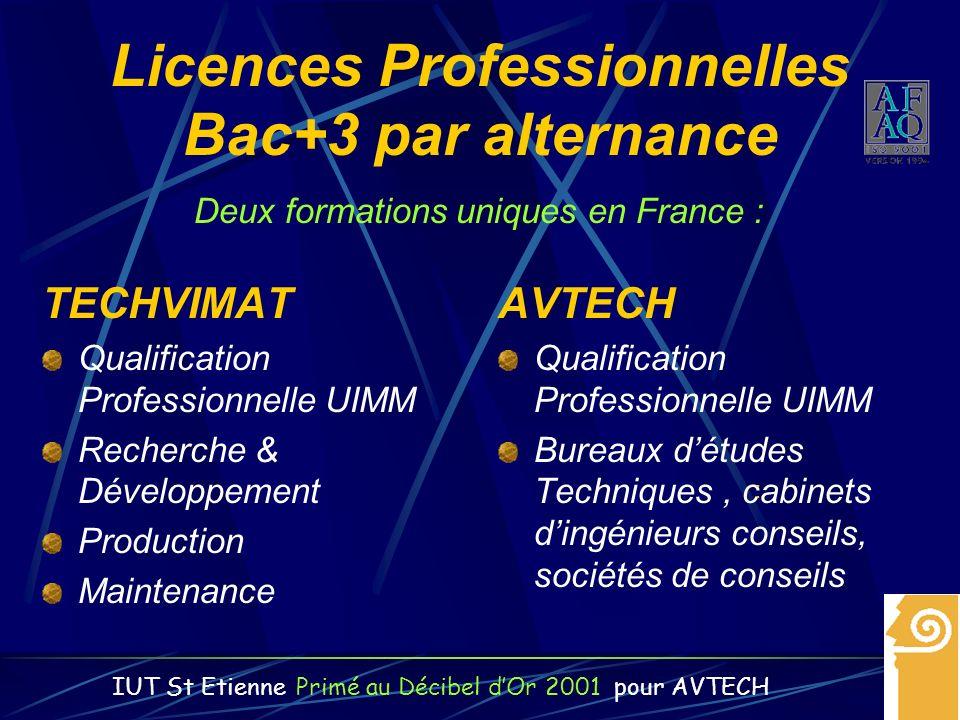 Licences Professionnelles Bac+3 par alternance TECHVIMAT Qualification Professionnelle UIMM Recherche & Développement Production Maintenance AVTECH Qu