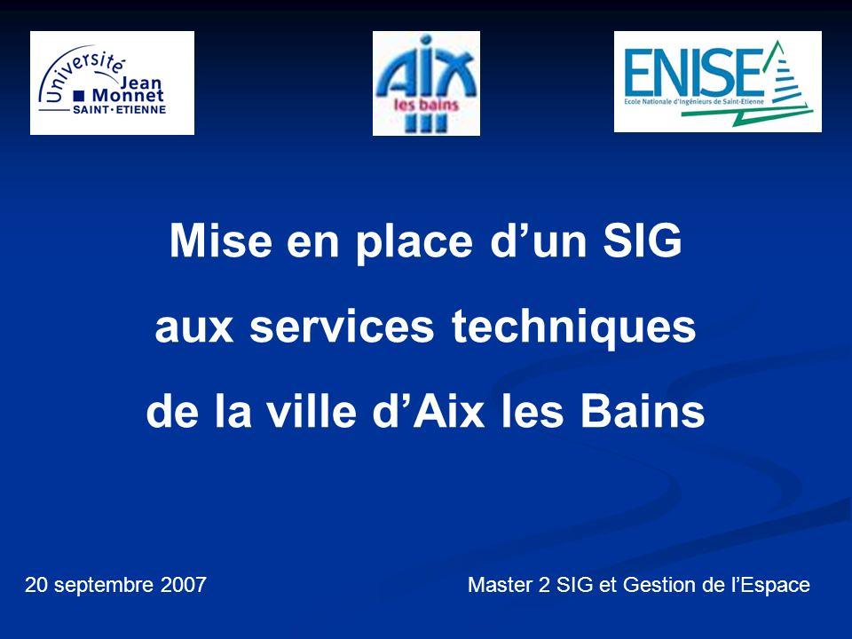 Mise en place dun SIG aux services techniques de la ville dAix les Bains 20 septembre 2007Master 2 SIG et Gestion de lEspace